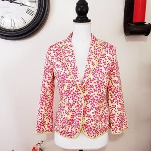 J. Crew Small One Button Blazer Pink Green Floral